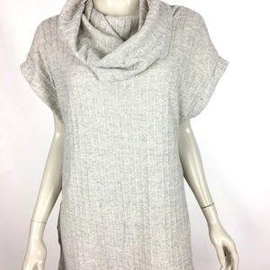 Umgee USA Womens Medium Gray Mock Neck Knit Tunic
